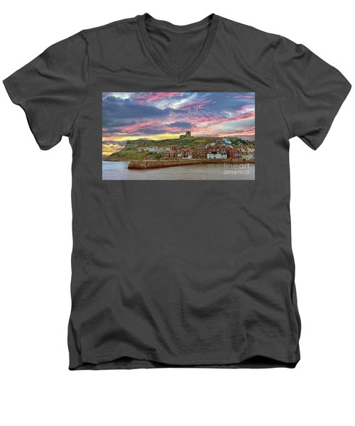 Whitby Abbey Uk Men's V-Neck T-Shirt