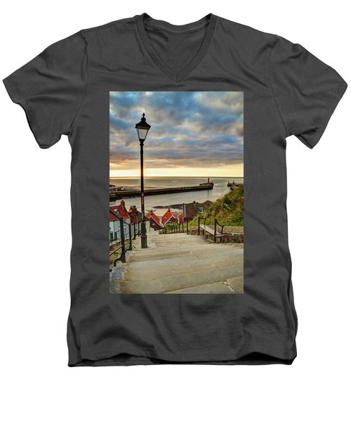 Whitby Sun Set Men's V-Neck T-Shirt