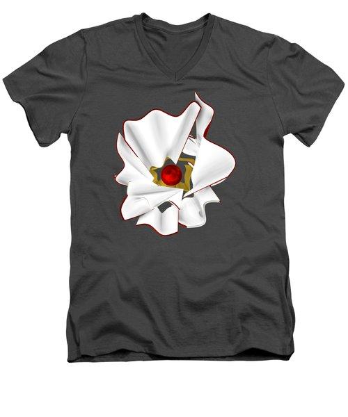 White Abstract Flower Men's V-Neck T-Shirt