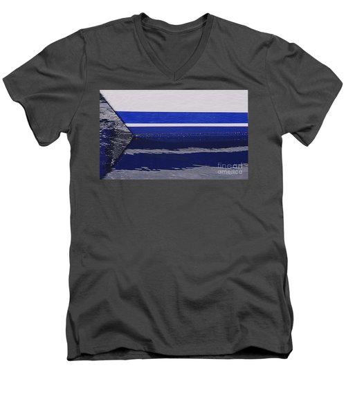 White And Blue Boat Symmetry Men's V-Neck T-Shirt by Danuta Bennett