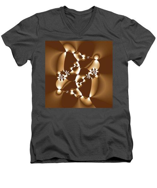 White And Milk Chocolate Fractal Men's V-Neck T-Shirt