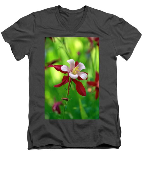 Men's V-Neck T-Shirt featuring the photograph White And Red Columbine  by James Steele