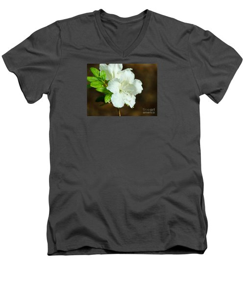 Men's V-Neck T-Shirt featuring the photograph White Azalea  by Rand Herron