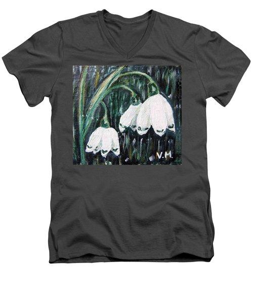 White Bells Men's V-Neck T-Shirt by Vesna Martinjak