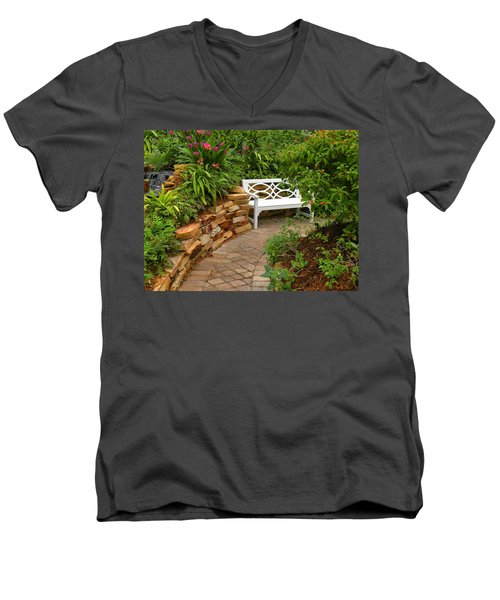 Men's V-Neck T-Shirt featuring the photograph White Bench In The Garden by Rosalie Scanlon