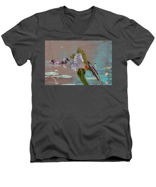 White Bindweed And Mandarin Duck Mix #g5 Men's V-Neck T-Shirt