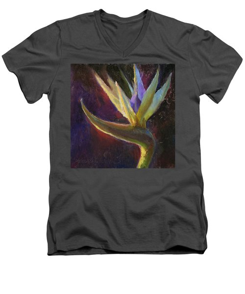 Men's V-Neck T-Shirt featuring the painting White Bird Of Paradise -tropical Flower Painting by Karen Whitworth