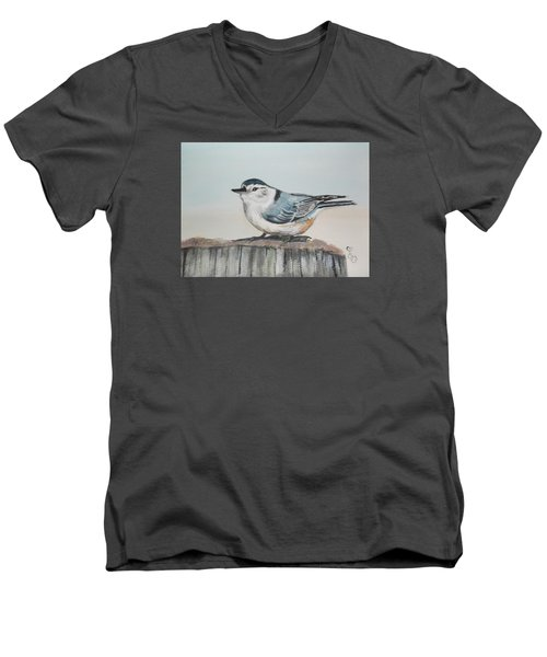 White Breasted Nuthatch Men's V-Neck T-Shirt by Carole Robins