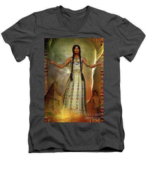 Men's V-Neck T-Shirt featuring the digital art White Buffalo Calf Woman by Shadowlea Is