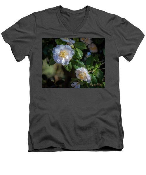 Men's V-Neck T-Shirt featuring the photograph White Camelia 02 by Gregory Daley  PPSA