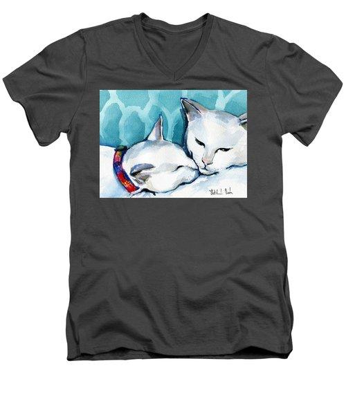 White Cat Affection Men's V-Neck T-Shirt