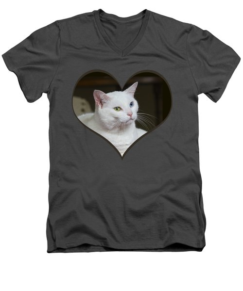 White Cat On A Transparent Heart Men's V-Neck T-Shirt by Terri Waters