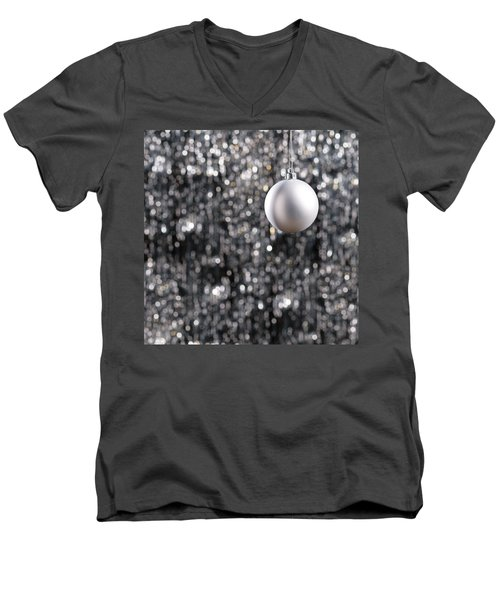 Men's V-Neck T-Shirt featuring the photograph White Christmas Bauble  by Ulrich Schade