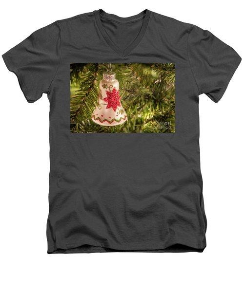 White Christmas Ornament Men's V-Neck T-Shirt by John Roberts