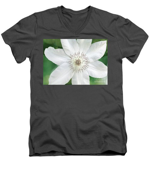 Men's V-Neck T-Shirt featuring the photograph White Clematis Flower Garden 50121 by Ricardos Creations
