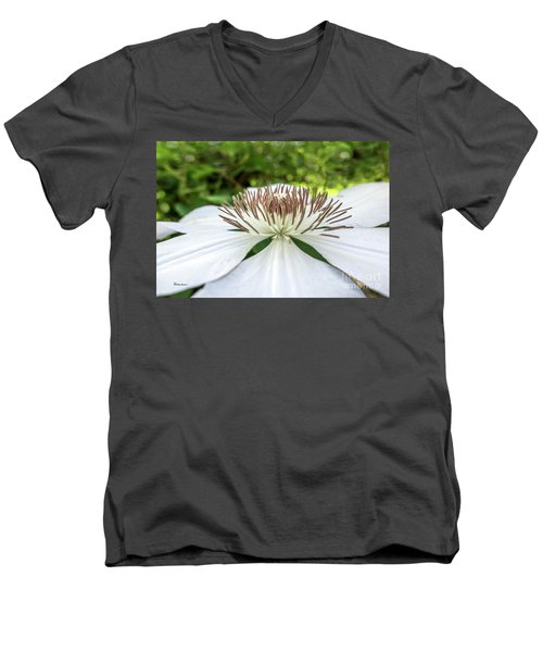 Men's V-Neck T-Shirt featuring the photograph White Clematis Flower Garden 50146 by Ricardos Creations