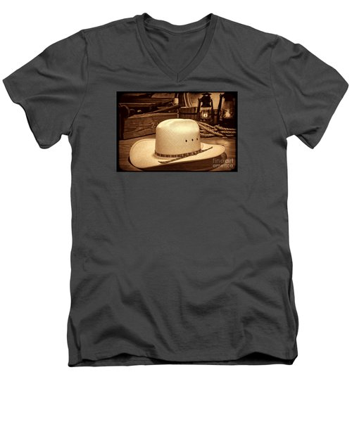 White Cowboy Hat In A Barn Men's V-Neck T-Shirt