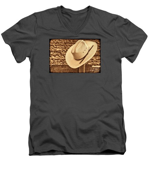 White Cowboy Hat On Fence Men's V-Neck T-Shirt by American West Legend By Olivier Le Queinec