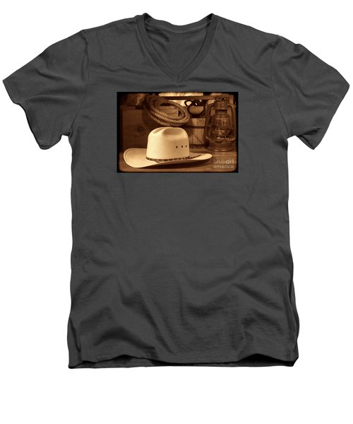White Cowboy Hat On Workbench Men's V-Neck T-Shirt by American West Legend By Olivier Le Queinec