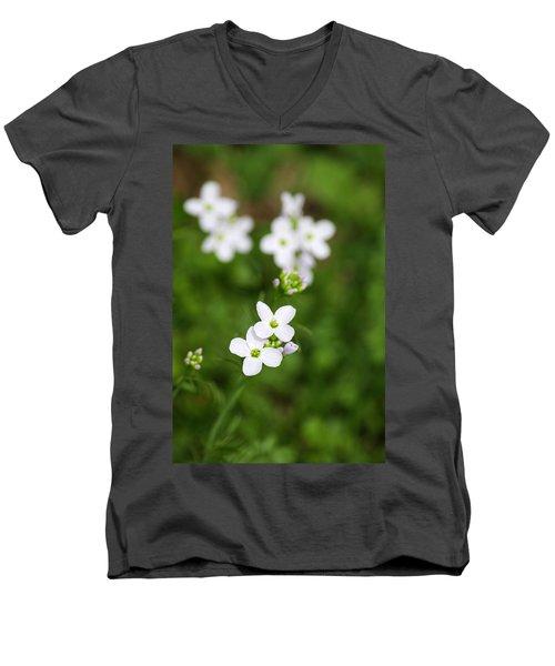 White Cuckoo Flowers Men's V-Neck T-Shirt
