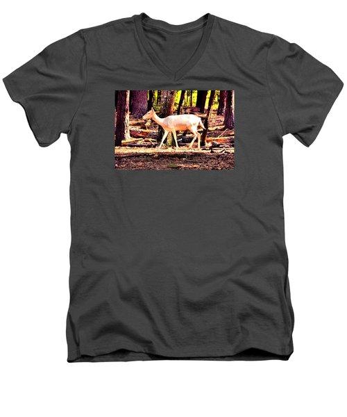 White Deer And Forest Stroll Men's V-Neck T-Shirt by James Potts