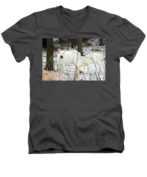 White Deer With Squash 3 Men's V-Neck T-Shirt by Brook Burling