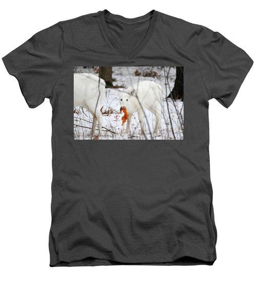 White Deer With Squash 5 Men's V-Neck T-Shirt by Brook Burling