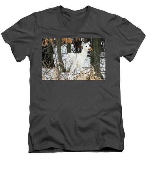 White Doe With Squash Men's V-Neck T-Shirt by Brook Burling
