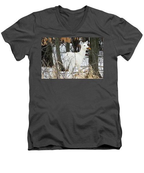 White Doe With Squash Men's V-Neck T-Shirt