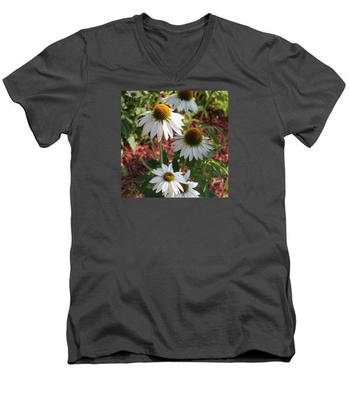 Men's V-Neck T-Shirt featuring the photograph White Echinacea by Suzanne Gaff