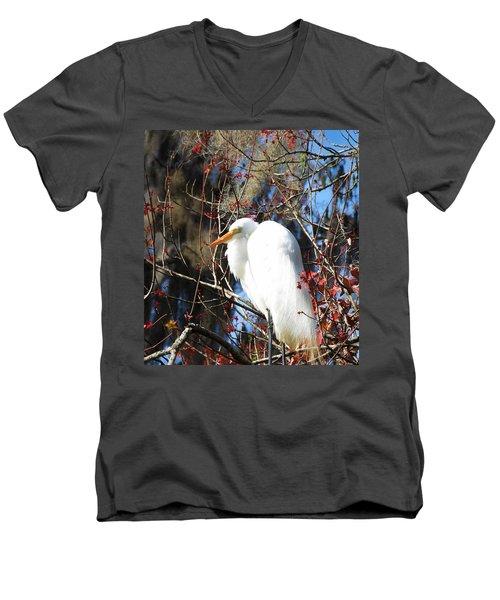 White Egret Bird Men's V-Neck T-Shirt