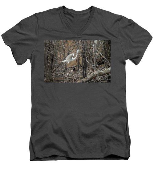 Men's V-Neck T-Shirt featuring the photograph White Egret by David Bearden