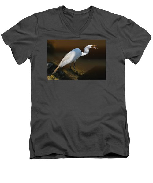 White Egret Fishing For Midday Meal II Men's V-Neck T-Shirt by Suzanne Gaff