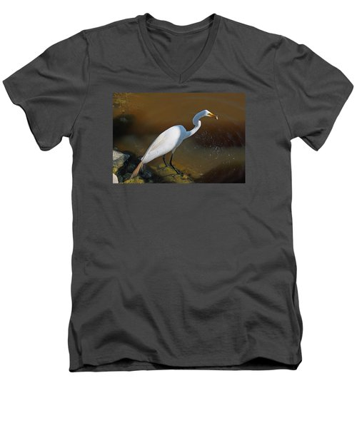 White Egret Fishing For Midday Meal Men's V-Neck T-Shirt