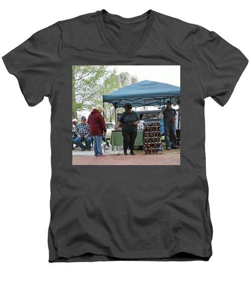 Men's V-Neck T-Shirt featuring the photograph White Ferret Car Show by Jack Pumphrey