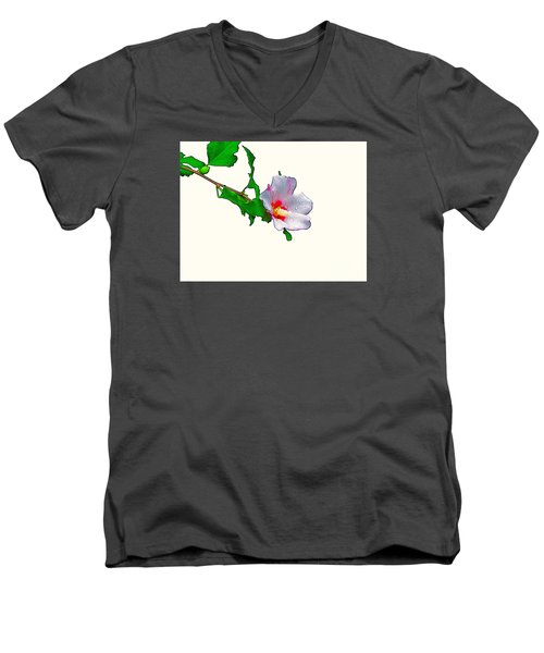 White Flower And Leaves Men's V-Neck T-Shirt