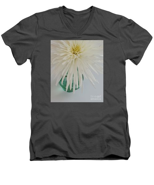 White Flower In A Vase By Jasna Gopic Men's V-Neck T-Shirt by Jasna Gopic