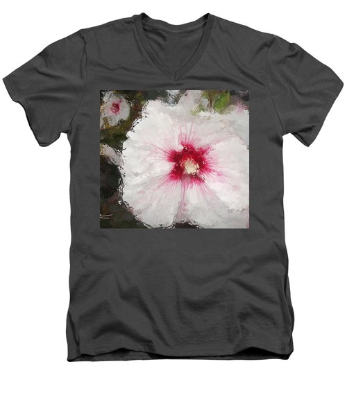 Men's V-Neck T-Shirt featuring the painting White Flower by Joan Reese