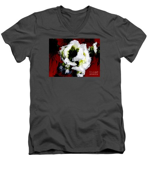 White Flower On Red Background Men's V-Neck T-Shirt