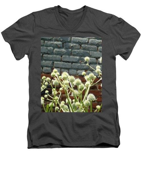 White Flowers And Bricks Men's V-Neck T-Shirt by Susan Lafleur