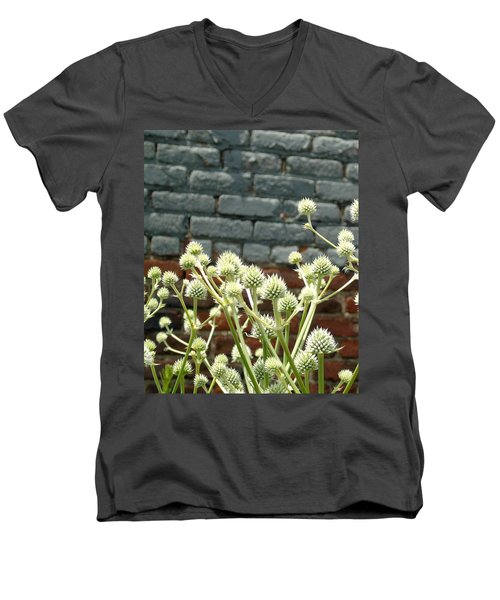 White Flowers And Bricks Men's V-Neck T-Shirt
