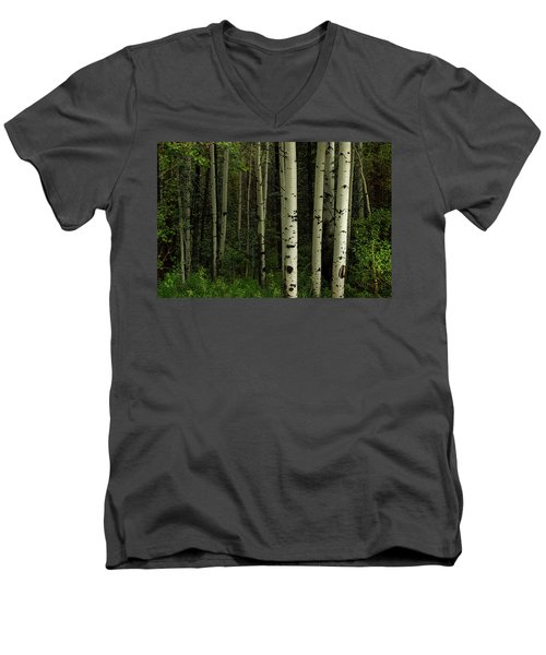 Men's V-Neck T-Shirt featuring the photograph White Forest by James BO Insogna