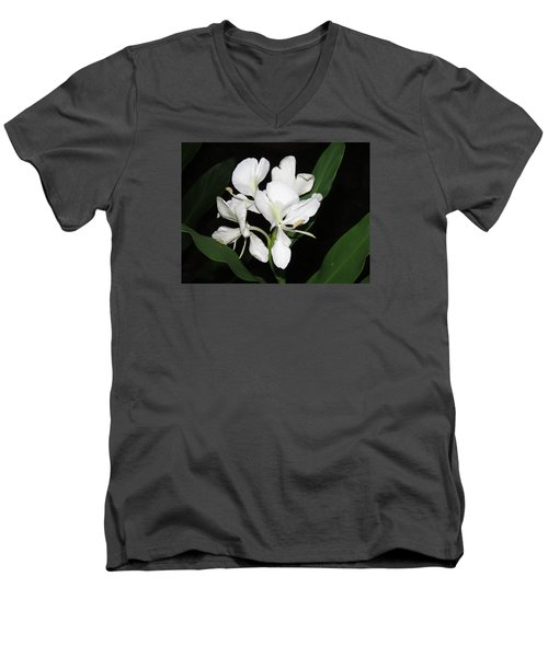 Men's V-Neck T-Shirt featuring the photograph White Ginger by Phyllis Beiser