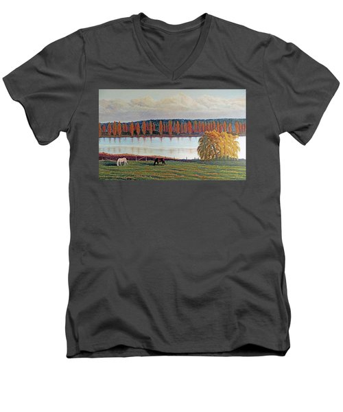 Men's V-Neck T-Shirt featuring the painting White Horse Black Horse by Laurie Stewart
