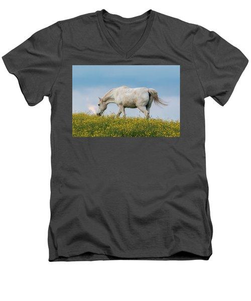 White Horse Of Cataloochee Ranch 2 - May 30 2017 Men's V-Neck T-Shirt