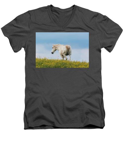 White Horse Of Cataloochee Ranch - May 30 2017 Men's V-Neck T-Shirt