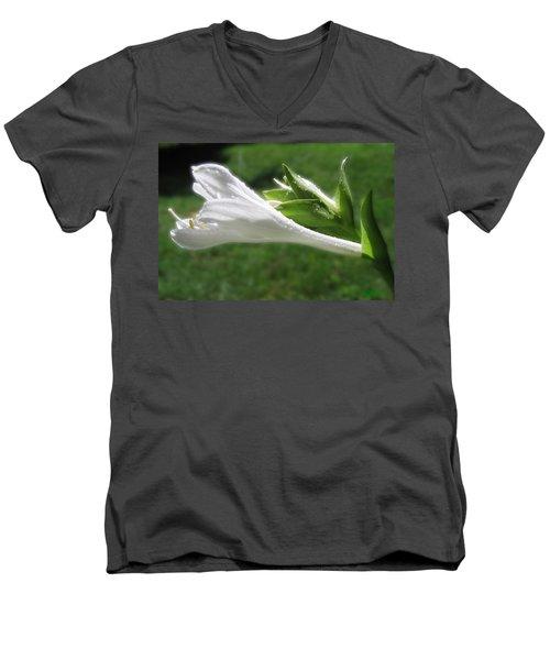 Men's V-Neck T-Shirt featuring the photograph White Hosta Flower 46 by Maciek Froncisz