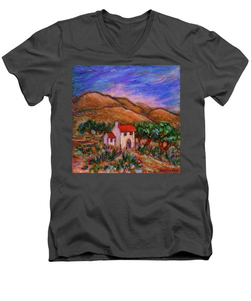 Men's V-Neck T-Shirt featuring the painting White House In An Oak Grove by Xueling Zou