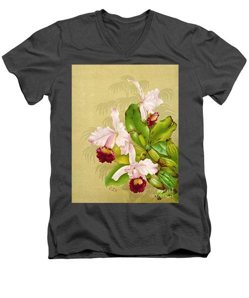 White House Orchid 1892 Men's V-Neck T-Shirt by Padre Art
