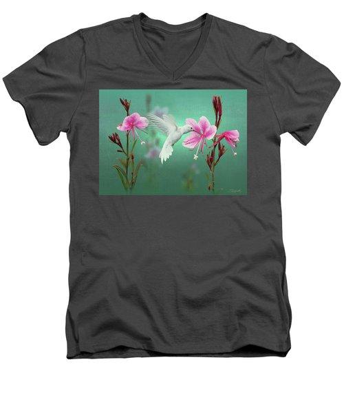 White Hummingbird And Pink Guara Men's V-Neck T-Shirt